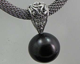 AAA Black Freshwater Pearl   13mm   Sterling Silver Pendant With 4mm Mesh Sterling silver necklace MMM