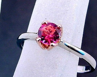 PINK Tourmaline Round Solitaire Set   5mm   in 14K White and Rose gold  Available in all colors MMM