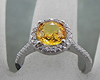 Round Natural Yellow Sapphire   7.50mm  1.69 Carats   in 14K white gold Halo ring with .40 carats of diamonds 0971