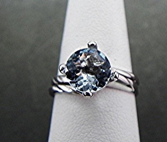 AAA Aquamarine   7.00mm  1.28 Carats   Round 14K white gold Bridal 1368