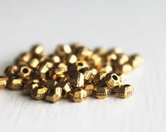 100 TierraCast 3mm Antiqued Gold Hexagon Bead, Britannia Pewter, Spacer Beads, Lead Free Metal Spacer Beads