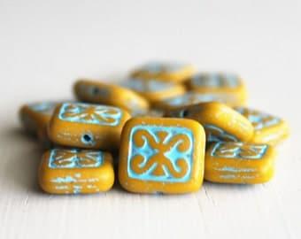 15 Mustard Turquoise Decorative 11x12mm Czech Glass Rectangle Beads