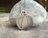 Etched Footprints-Your Child's Footprints Etched in Sterling Silver