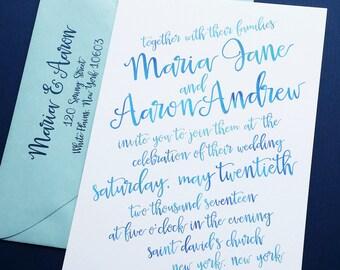 Maria Aqua Blue Watercolor Script Wedding Invitation Sample - Hand Lettering Script Casual Beach Wedding Invitation