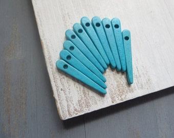 turquoise Ceramic beads, spike beads , aqua spike pendant , dagger , matte opaque  blue   tone   - 10 pcs - 5amk