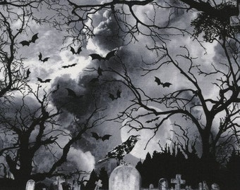 Graveyard Halloween Wicked Black Timeless Treasures Fabric 1 yard