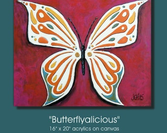 Butterfly Large Colorful Original Mixed Media Acrylic Painting 16x20 Titled Butterflyalicious