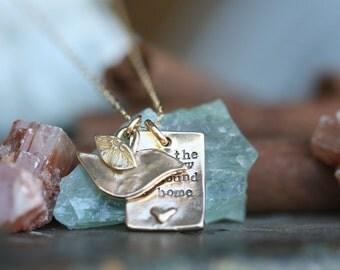 Even the sparrow... hand stamped fine golden bronze bird necklace