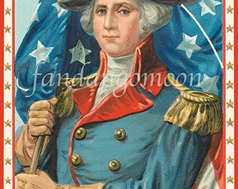 George Washington Portrait American Flag Red White Blue 4th July Patriotic Independence Day Postcard Antique Digital Download
