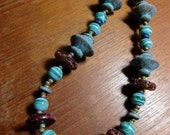 Statement Necklace: Glass Lampwork, Natural Stone, Patina Metal, Earthy Colors