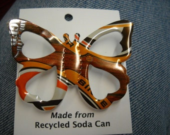 Butterfly Pin  Root beer  Recycled Can