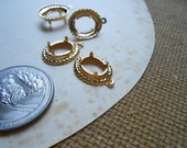 8 pc vintage brass fancy prong setting charms fits 8 x 10 cab - vintage old new stock jewelry supplies