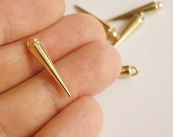 30 pcs Matte 22K Gold Plated Acrylic  Spike Charm- SPIKE 22x23mm (015-011GP)