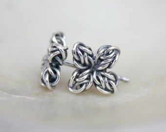 Star Flower Silver Stud Earrings, Oxidized Argentium Sterling Silver Tiny Posts, Small Fused Celtic Chainmaille, Nickel Free Hypoallergenic