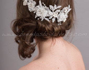 Wedding Lace Headpiece, Lace Hair Vine, Bridal Hair Accessory, White or Ivory - Courtney