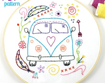 Hippy Van Bus Hand Embroidery PDF Pattern Travel