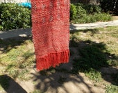"Handwoven Scarf, One-of-a-Kind in cotton and wool 66""X6"""