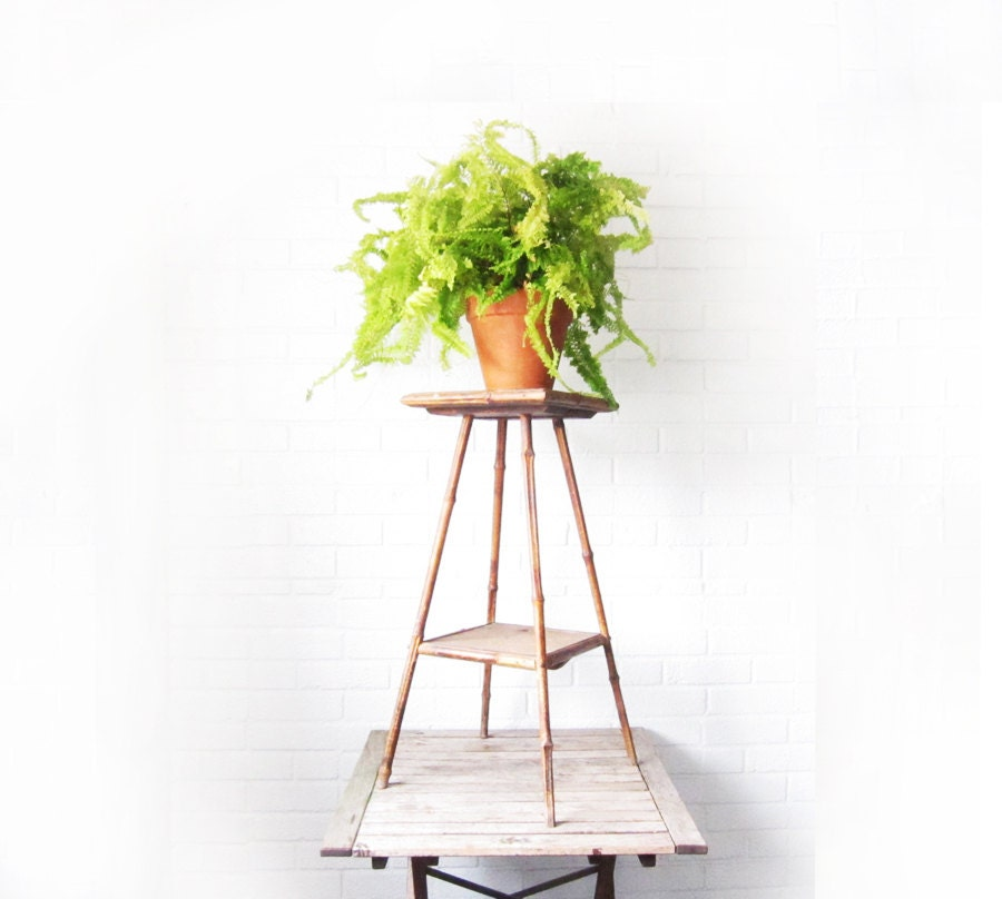 Antique Bamboo Plant Stand Victorian Raffia And Wood