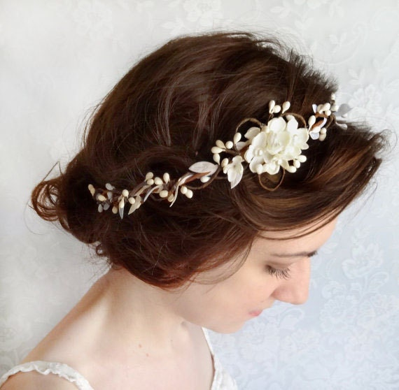 bridal headpiece ivory, bridal headband pearl, ivory flower headband, floral crown, bridal hair piece, cream headband, bridal hair vine