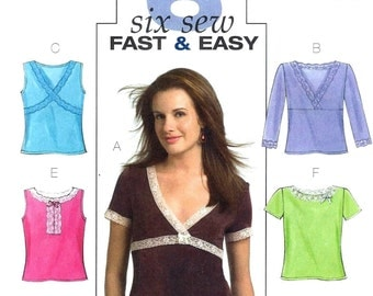 Butterick 4737 Six Fast & Easy Pullover Tops for Women -  PATTERN - Sizes 6, 8, 10, 12