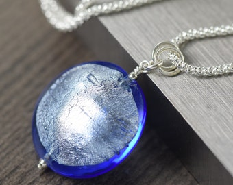 Blue Murano glass necklace Venetian glass pendant on sterling silver chain gifts for her