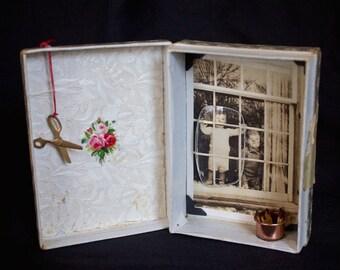 He's Leaving Again - Original Mixed Media Assemblage - Box Art
