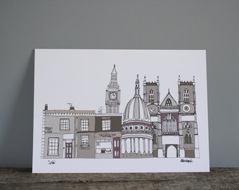 London Buildings Skyline Illustration Print - Wall Art - A3