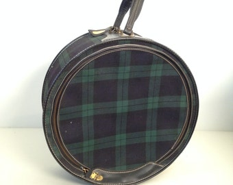vintage overnight bag - round green black plaid suitcase