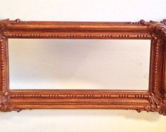 vintage mirror - faux wood framed wall mirror