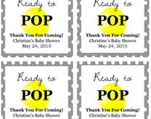 """Yellow Balloon """"Ready to Pop!"""" Baby Shower Favor Tags: Digital File"""