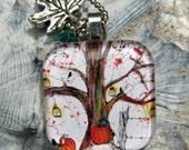 Jack o lantern Tree, Art pendant with charm and glass bead