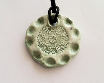 Aromatherapy Essential Oil Diffuser Jewelry Pendant Necklace Large Bohemian Style Pendant Sea Foam Green
