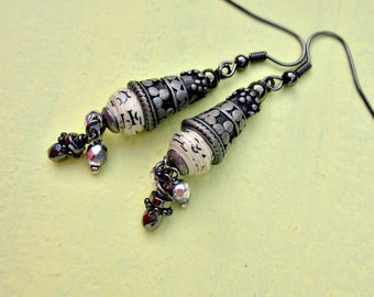 Recycled Paper Bead and Glass Rustic Silver Dangle Earrings: Everleigh