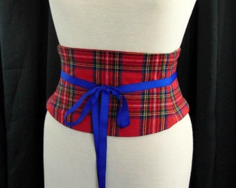 Royal Stewart Tartan Wool Plaid Corset Red and Blue Waist Cincher Obi Belt Any Size