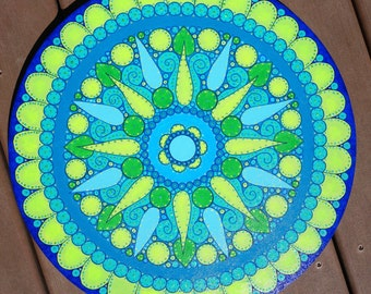 Green and Blue Mandala Original Painting