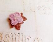 Rose Pink Cocoa brown Millinery Flower Brooch ~Velveteen Chenille Rosette pin, glass beaded stamens, velvet wedding accessory Victorian trim