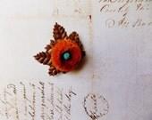 Deep Orange Nut brown Millinery Flower Brooch ~Velveteen Chenille Rosette pin, glass beaded stamens, velvet wedding accessory Victorian trim