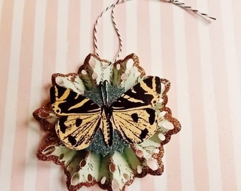 Victorian Butterfly Gilded Lace Doily Rosette Handmade OOAK Paper Ornament ~ Glittered Wedding Holiday Christmas Ornament Wrap Party Supply