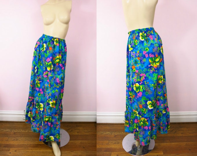 1970s Floral Print Maxi Skirt S/M