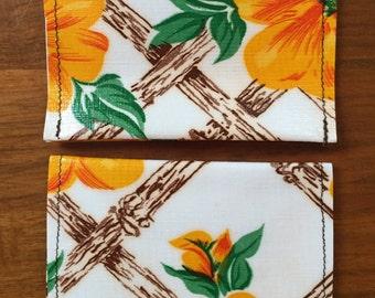 Tiki Pattern Oilcloth Wallet