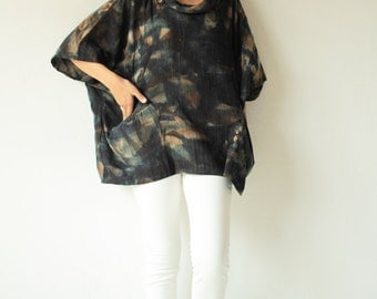 Hand dye round neck blouse in only one size