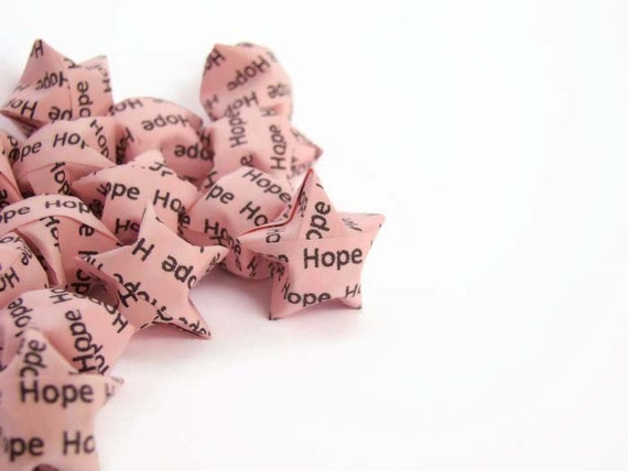 "100 Pink Origami Lucky Stars - ""Hope"" -  Breast Cancer Awareness"
