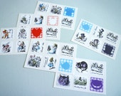 Alice in Wonderland stickers party favors wedding favors — 10 sticker sheets