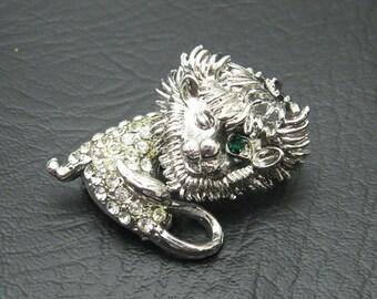 Rhinestone Lion Brooch Winking Lion Vintage Jewelry P3968
