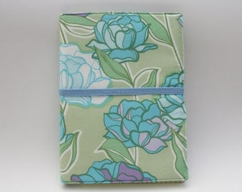 Notepad Organizer - Pastel Green/Blue Floral Fabric (Notepad Included)