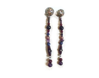 Shoulder duster earrings - 1980s - 5 inches - Stones and lampwork beads - Purple - Blue