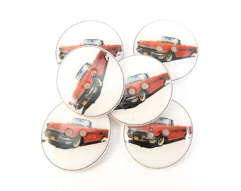 "6 Vintage Red Convertible Car Buttons.  Handmade Buttons.  3/4"" or 20 mm.Vintage Image."