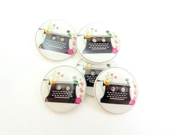 """5  Vintage Typewriter Handmade Sewing Buttons.  3/4"""" or 20 mm."""
