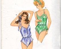 Kwik Sew 1586 1980s Misses  Lingerie Pattern Teddy  Pattern Womens Vintage Sewing Pattern Size XS S M L Bust 31 - 41 UNCUT