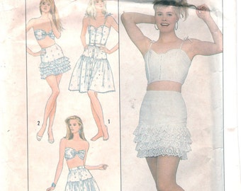 Simplicity 8635 1980s Misses Lingerie Ruffled Skirt Camisole and Bra Pattern Womens Vintage Sewing Size 12 14 16 Bust 34 36 38 OR 6 8 10 UNC